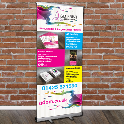about us, picture of roller banners, promotional products