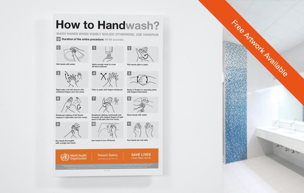 Coronavirus Hand Hygiene Posters - Self Adhesive No Mess